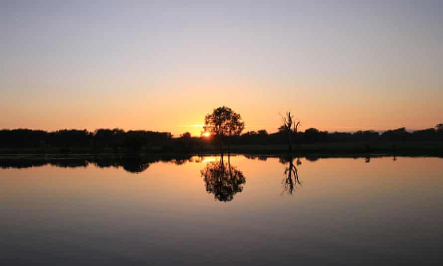 Sunrise over Yellow Water billabong at Kakadu national park, in Australia's Northern Territory.