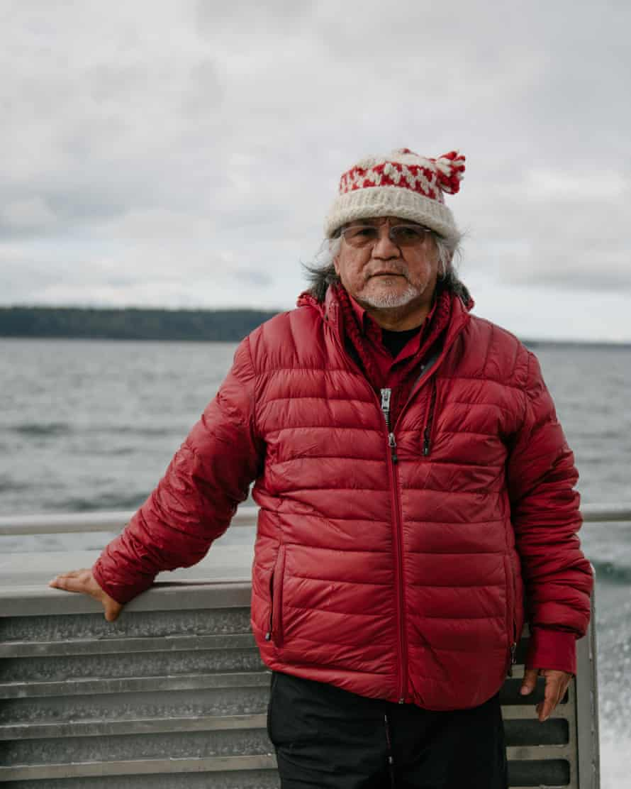 Lummi Tribal leader Al Johnnie poses for a portrait aboard King County's SoundGuardian following a Lummi ceremony honoring the qwe 'lhol mechen, commonly known as orca whales, in Puget Sound, on Wednesday, April 10, 2019 in Washington.