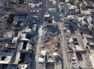 An aerial view of the Tariq al-Bab bombing