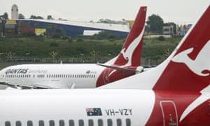 Qantas planes on the tarmac