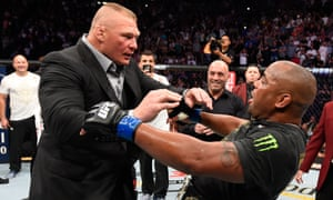 Brock Lesnar confronts Daniel Cormier after his UFC heavyweight championship fight