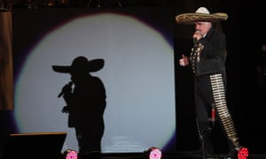 Mexican singer Vicente Fernandez performs a free farewell concert in Azteca Stadium in Mexico City, Saturday, April 16, 2016.