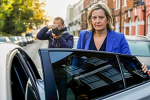 Amber Rudd leaves her home to appear on the Andrew Marr show in London