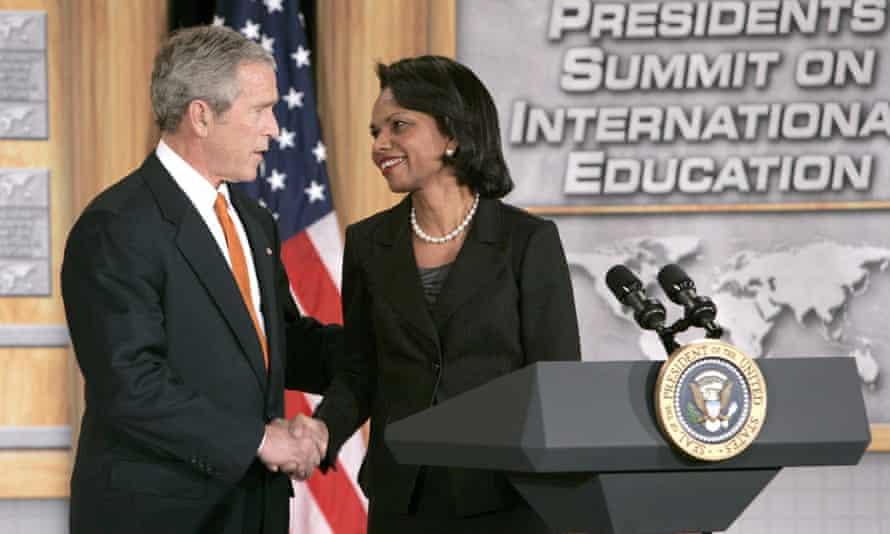 George W Bush shakes hands with Condoleezza Rice in Washington DC on 5 January 2006.