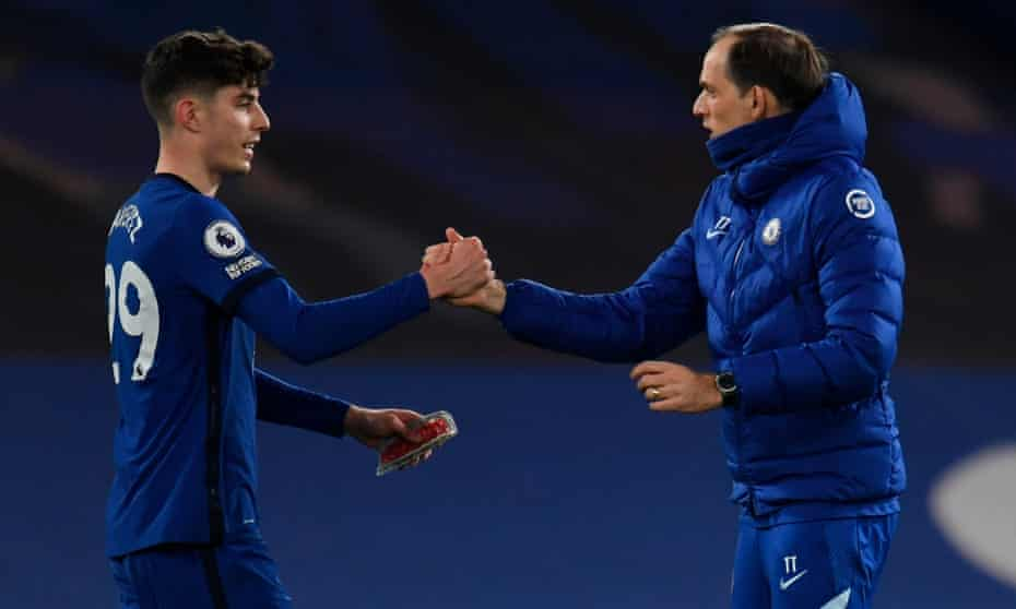 The Chelsea manager Thomas Tuchel (right) celebrates with Kai Havertz after the 21-year-old forward impressed in the 2-0 win against top-four rivals Everton.