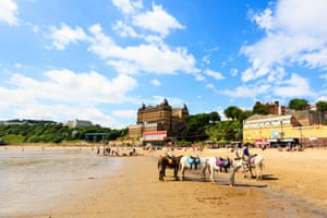 Donkey rides on the beach at Scarborough, North Yorkshire, England.