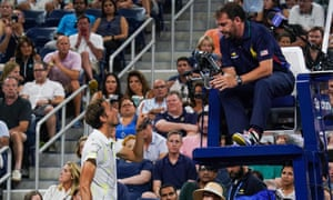 Daniil Medvedev argues with the chair umpire during his controversial win against Feliciano López at the US Open.