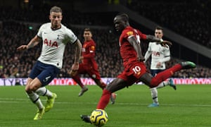 Sadio Mané in action for Liverpool against Tottenham. The forward was named Africa's best player in 2019.