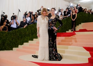 Anna Wintour and daughter Bee Shaffer I love how balls-out regal this is from Anna. No harnesses, no scrappy bits, just a statuesque column of fringed cream Chanel, crowned with a gold laurel wreath, like the Queen of the universe. Bee is in Alexander McQueen, and seems to be whispering nuggets of courtly gossip in her ear, like the future's Thomas Cromwell.