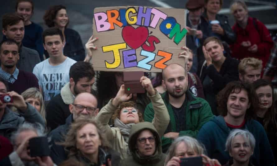 Supporters of Jeremy Corbyn listen to him speak in Regency Square in Brighton