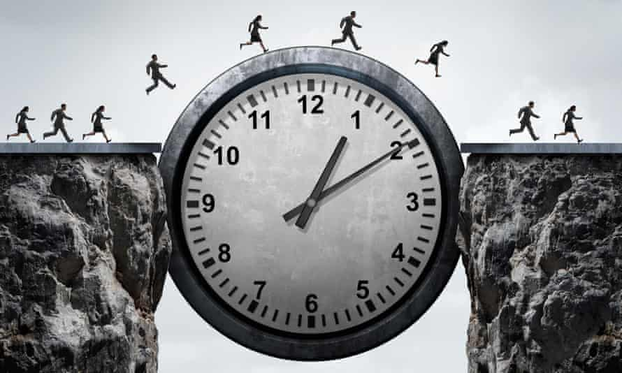 A group of running business people using a clock as a bridge across a gorge