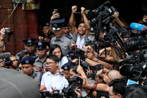 Detained Reuters journalists Wa Lone and Kyaw Soe Oo leave Insein court.