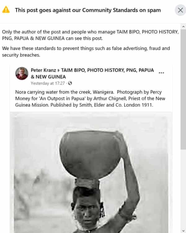 Historical photos from Papua New Guinea deleted by Facebook.