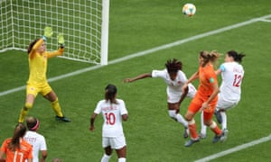 Netherlands get their noses in front courtesy of Anouk Dekker's bonce.