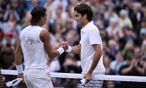 Rafael Nadal and Roger Federer shake hands after their classic 2008 final