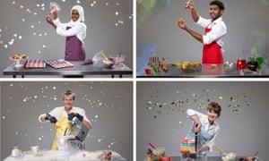 This year's Great British Bake Off semi-finalists: (clockwise from top left) Nadiya Hussain, Tamal Ray, Flora Shedden and Ian Cumming.