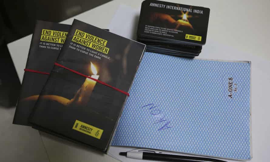 Publicity materials lie on a table at the Amnesty International India headquarters in Bangalore, India.