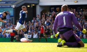 Ross Barkley celebrates his goal for Everton against Watford.