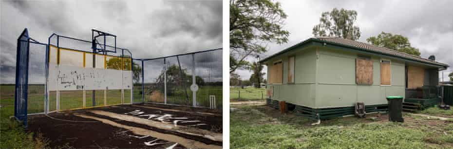 A rundown basketball hoop and boarded-up house in south Moree
