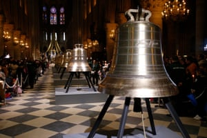 New bronze bells are displayed in the nave