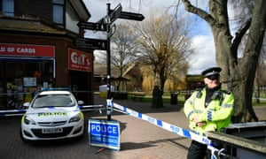 A police cordon in Salisbury, erected after Sergei Skripal and his daughter, Yulia, were found unconscious on a nearby bench on Sunday.