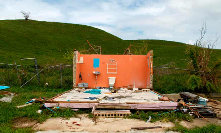 A house destroyed by hurricane Maria. The issue of loss and damage from climate change between developed and developing nations is contentious.