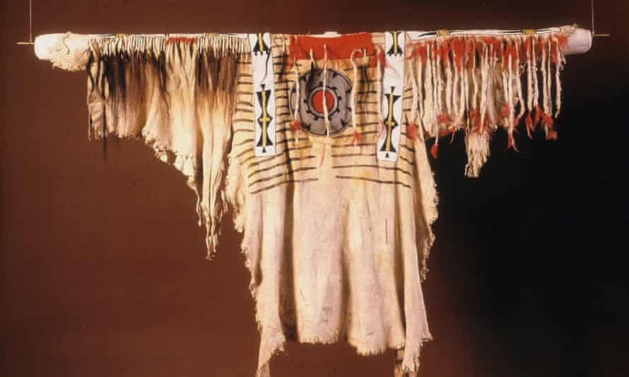 A Blackfooot buckskin shirt, once the property of the chief Crowfoot.