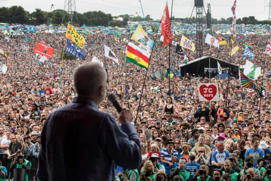 Jeremy Corbyn addresses the crowd at Glastonbury