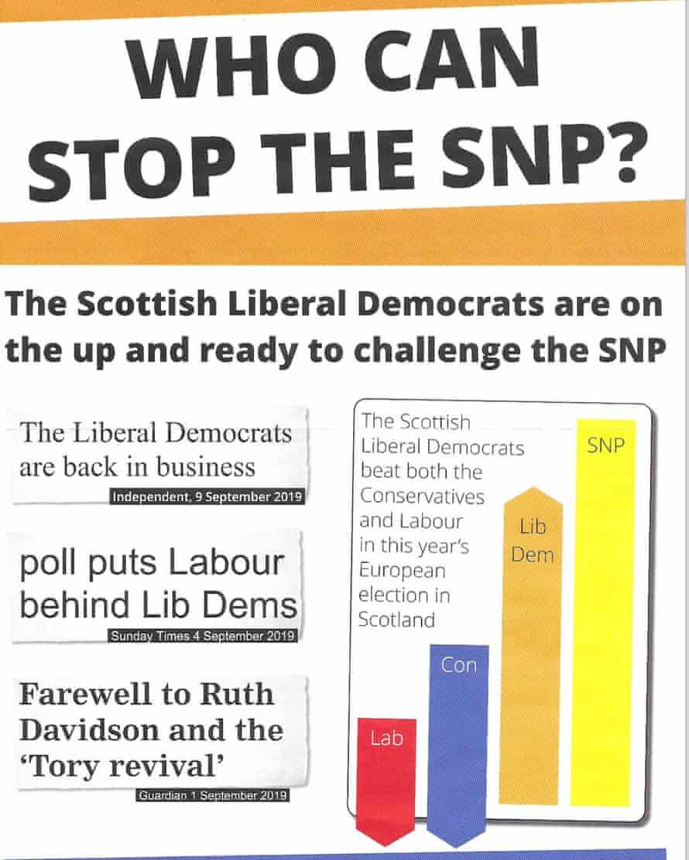 Lib Dem leaflet handed out in Edinburgh