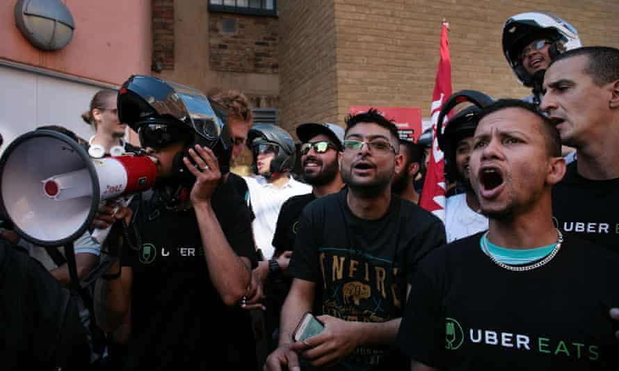 UberEats drivers at a protest in London against pay deals