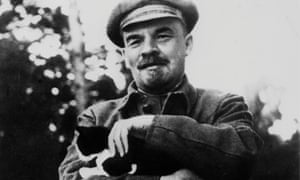 Lenin cradles a cat in his arms