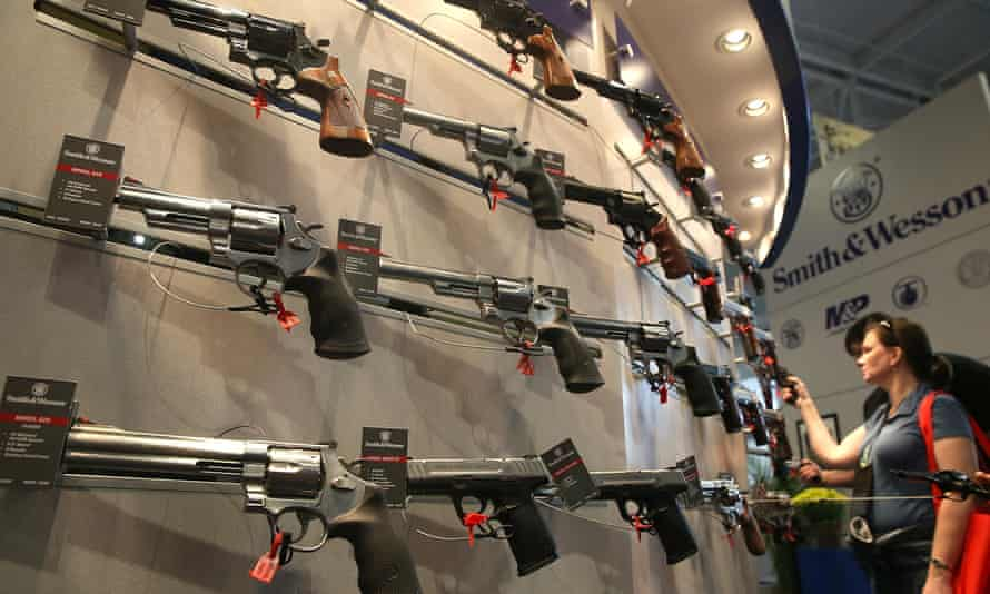 Smith and Wesson handguns are displayed during the 2015 NRA Annual Meeting & Exhibits in Nashville, Tennessee.
