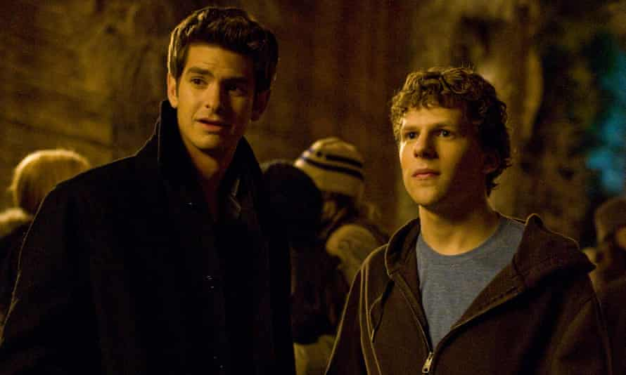 Andrew Garfield, left, and Jesse Eisenberg in The Social Network.
