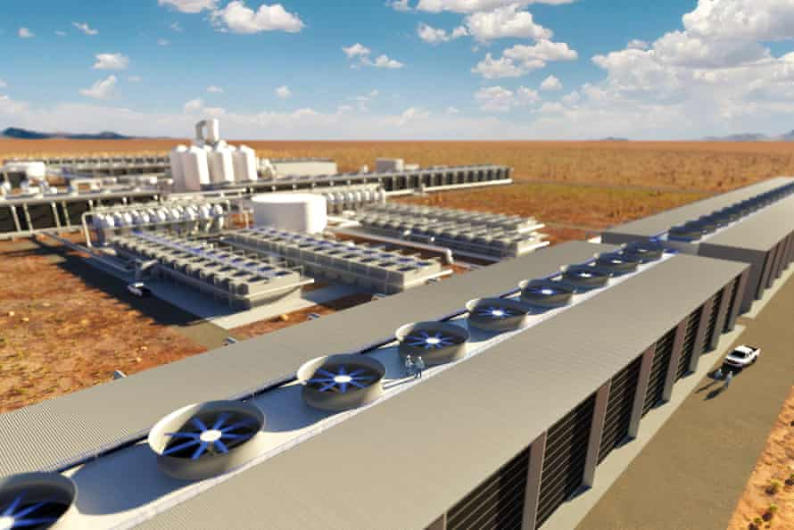 Rendering showing what will be the world's largest Dac plant, currently being engineered by Carbon Engineering and 1PointFive.
