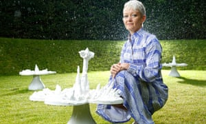 Maria Balshaw with the sculpture Piss Flowers by Helen Chadwick