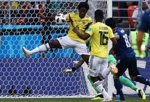 Colombia's Carlos Sanchez handles the ball.