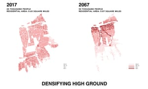 Map showing the proposal to densifying to densify high ground in New Mastic by 2067