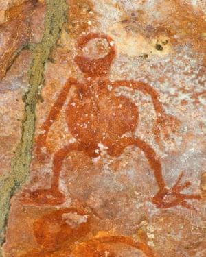在岩石风雨棚,米切尔高原,米歇尔河国家公园,金伯利地区,西澳州的原住民洞穴绘画。