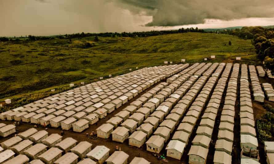 An aerial view of a camp for displaced persons in Ituri province, Democratic Republic of Congo.
