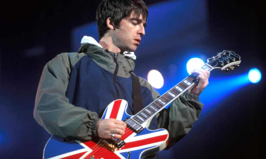 'I'm not 'aving that' … Noel Gallagher onstage, 1996.