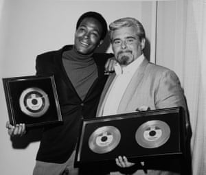 Ales bestows gold discs on Marvin Gaye for 'I Heard it Through the Grapevine'. Courtesy of Barney Ales