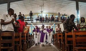 A mass at the Saint Raphael Parish in Kinshasa last week.