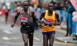 Kenya's Eliud Kipchoge and Stanley Biwott in action during the men's race.