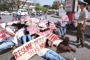 A Manila protest in 1999 calling for peace talks with the rebels in the Philippines' long-running communist insurgency.