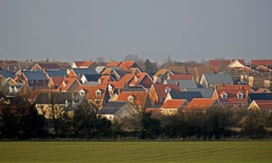 Newly built housing estate in the English countryside, Debenham, Suffolk, UK