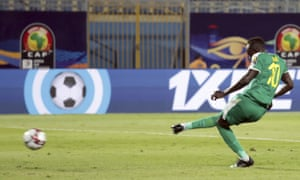Senegal's Sadio Mane scores his side's third goal from the penalty spot against Kenya.