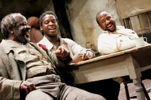 Joseph Marcell (Solly Two Kings), Kobna Holdbrook-Smith (Citizen Barlow) and Msamati (Eli) in August Wilson's Gem of the Ocean at the Tricycle in 2006