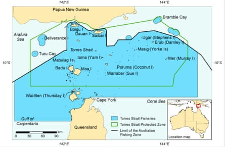 A map of the Torres Strait between Australia and Papua New Guinea