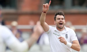 England's Jimmy Anderson celebrates taking the wicket of Pakistan's Shan Masood