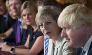 Theresa May, sitting next to Boris Johnson, right, at her cabinet meeting.
